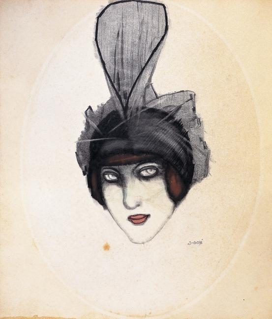XAVIER GOSÉ, El sombrero de tul, c. 1909. Lápiz conté, carbón y gouache sobre cartulina, 21 x 16 cm. Museu d'Art Jaume Morera, Lérida — Cortesía del Ayuntamiento de Málaga