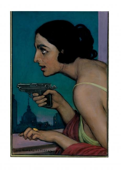 JULIO ROMERO DE TORRES, Mujer con pistola, 1925. Óleo sobre lienzo, 52 x 34,5 cm. Fundación MAXAM, Madrid — Cortesía del Ayuntamiento de Málaga