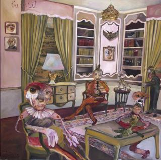 The visit. Oil on canvas, 2020, 150 x 150 cm., de Juliane Hundertmark — Cortesía de la galería Contrast