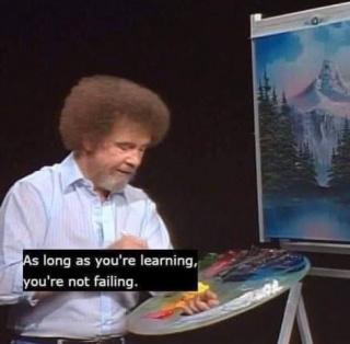 Still do programa televisivo educacional The Joy of Painting, transmitido na PBS entre 1983 e 1994, nos Estados Unidos  © Autor desconhecido