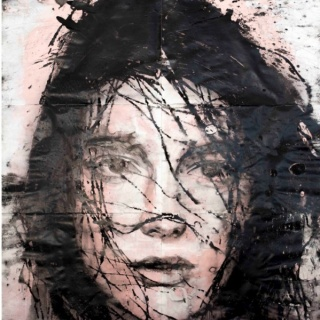 Lídia Masllorens, Sans titre - Acrylique et eau de javel sur papier- 180 x 180 cm