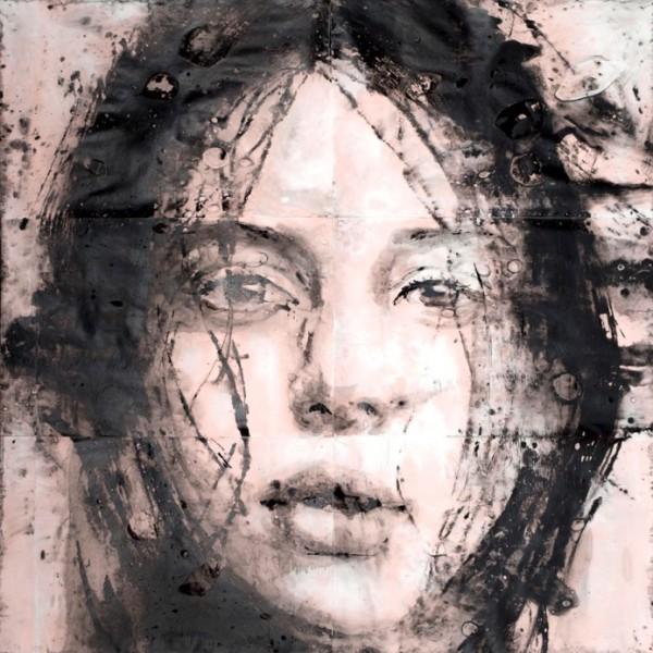 Lídia Masllorens, Sans titre - Acrylique et eau de javel sur papier- 180 x 195 cm
