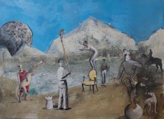 Miguel Peña, Personajes de circo, 60x80 cm., mixta sobre papel