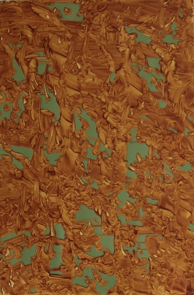 Teresita Dennis, Surfacing green, 45 x 30 cm., oil on linen, 2016
