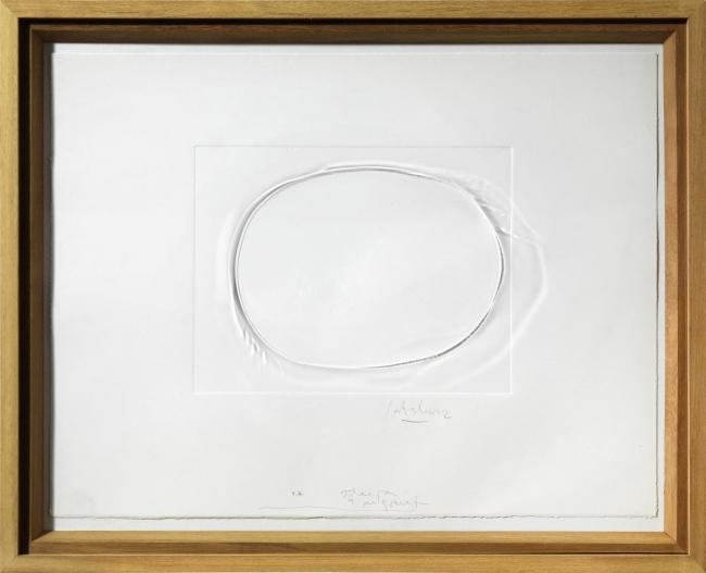 """Jordi Alcaraz, """"Idea per a un gravat"""", 2016. Gofrado sobre papel y pisada sobre metacrilado, 74 x 61 x 5 cm. Edición: 20 ejemplares — Cortesía de la galería Atelier"""