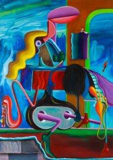 Gorka Mohamed. El Esquema Dinamico De La Ventosa, 2017. Huile sur toile 210 x 160 cm. — Cortesía de Galerie Thomas Bernard - Cortex Athletico