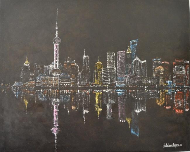 """""""Reflejos de Shanghai"""". 73x92. Oleo/Lienzo"""