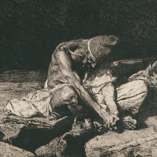 Mariano Fortuny y Marsal, Árabe velando el cadáver de su amigo, 1867 (detalle). Aguafuerte y aguatinta, 216 x 410 mm  (segunda tirada). Colección particular — Cortesía del Museo Carmen Thyssen-Bornemisza Málaga