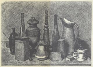 Grande natura morta con la lampada a destra, Giorgio Morandi, 1928, aguafuerte sobre cobre, 25,2 x 34,9 cm. — Cortesía de la Galería Leandro Navarro