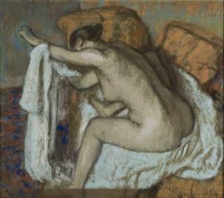 Edgar Degas, Mulher enxugando o braço esquerdo (após o banho), circa 1884. Pastel sobre papel, 58 x 64 cm. Acervo MASP. Doação Geremia Lunardelli,1952. Foto João Musa