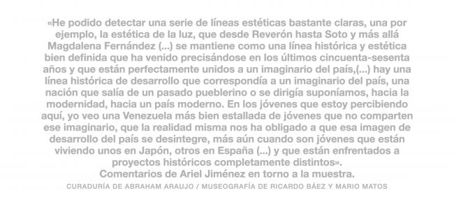 Comentarios de Ariel Jiménez en torno a la muestra