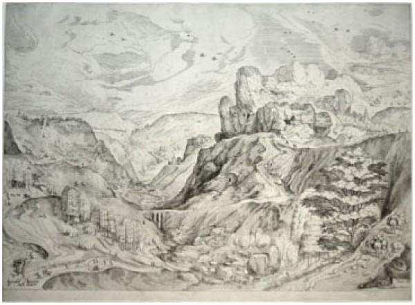 Johann Doetechum (1551-1605) / Lucas Doetechum, (Act. 1554-1584), según dibujo de Pieter Brueghel (1525/26-1569), Paisaje alpino, ca. 1555/56. Aguafuerte y buril. 314 x 418 mm.