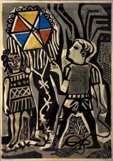 Antonio Berni, Juanito remontando un barrilete, 1961. Xilo Collage © Familia Berni