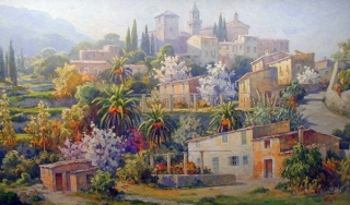"""Guillermo Gil, """"Valldemossa"""", óleo sobre tela, 195x114 cms."""