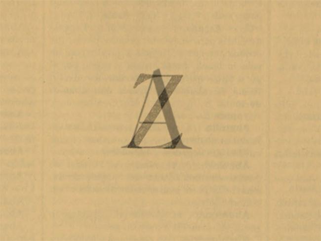 A-Z, 2018. Marta PCampos. 2 páginas del diccionario de la RAE de 1914 superpuestas. Cortesía de la artista