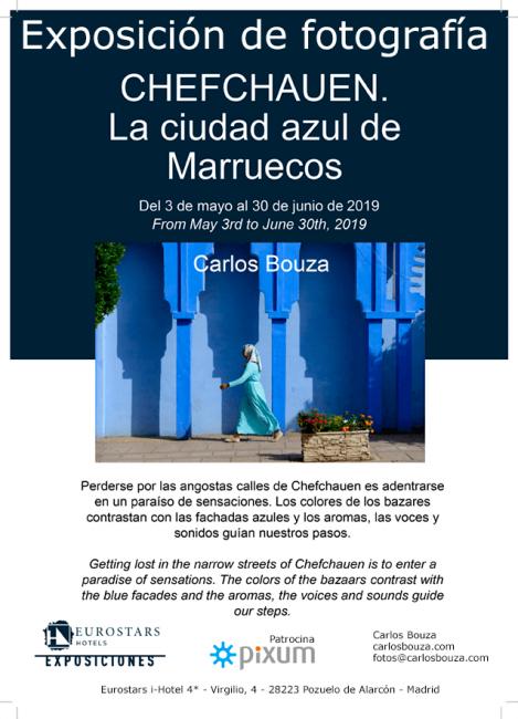Cartel de la exposición Chefchauen, la cviudad azul de Marruecos en Pozuelo de Alarcón