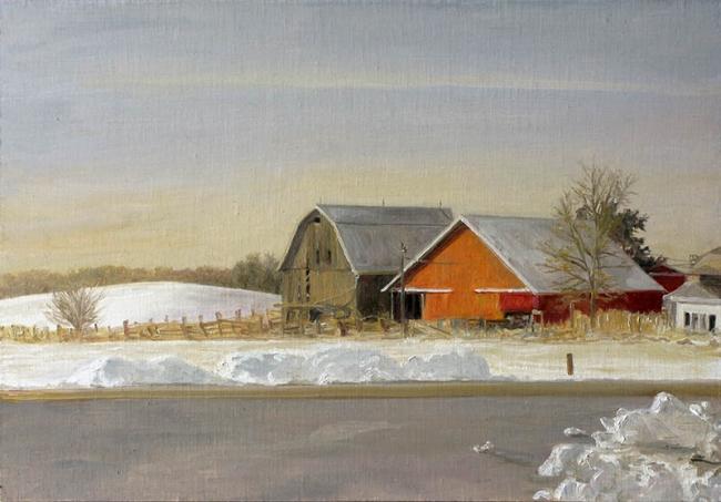 Félix de La Concha, Snow at Prairie du Chien in the Warmest Winter. Iowa City, Iowa. Óleo sobre lienzo, 34'5x49 cm., 2012 — Cortesía de la Galería Siboney