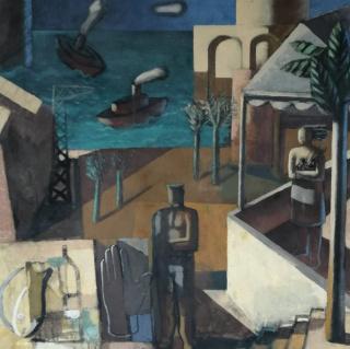 """Jorge Gay """"La libertat resbalaba por las horas"""" (1993) 90 x 90 cm. acrílico sobre tela"""