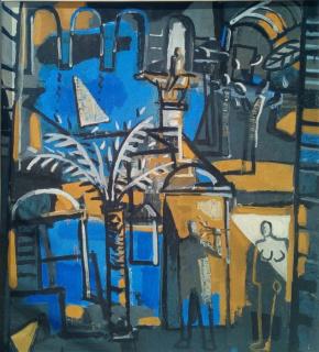 "Jorge Gay ""paisaje"" (1991) 100 x 100 cm. acrílico sobre tabla"