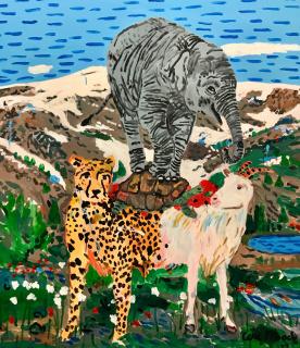 Cesc Abad, Acrobat. Acrílico sobre lienzo. 150x130cm. 2021 — Cortesía de la Galería Trinta