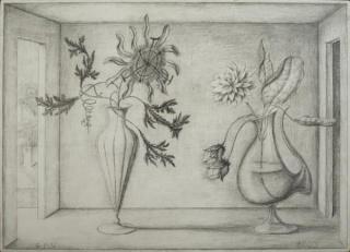 Guillermo Pérez Villalta, Visitación, 2003. Grafito sobre tabla estucada. 40 x 60 cm.