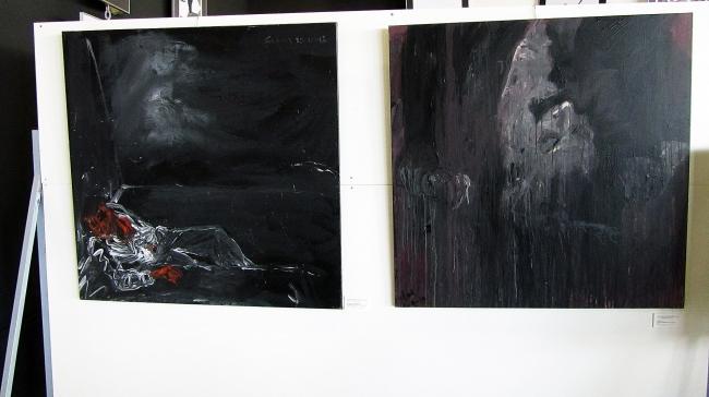 Dos cuadros pertenecientes a las Pinturas Neo-Noir de Fernando Rodríguez Salas
