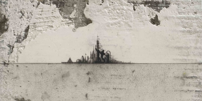Glexis Novoa Ivan Shadr, 2016, graphite on wall fragment with steel and cement base (detail). Courtesy of David Castillo Gallery, Miami Beach. Photo by Daniel Portnoy.
