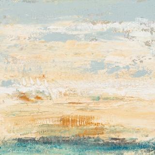 Cristina Babiloni. Velas en el camino, Mixta sobre tela, 100 x 100 cm. — Cortesía de la Sala Parés