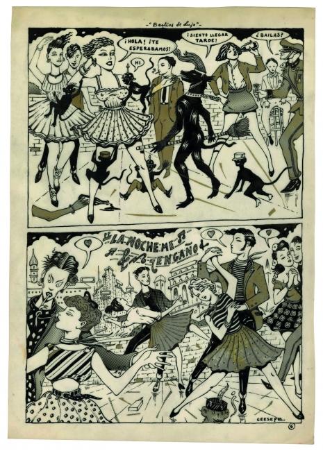"""Ceesepe. """"Bestias de Lujo"""" [p. 6] 1978. Original. Tinta china y collage/papel vegetal. 36.5 x 25.5 cm. Archivo Lafuente — Cortesía de La Casa Encendida"""