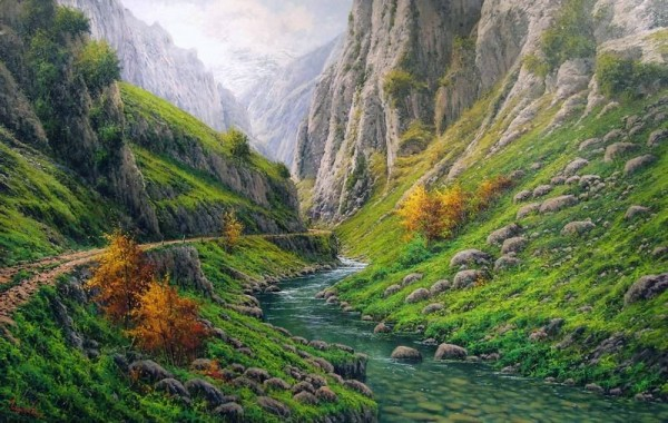 El Río Cares en Poncebos (Asturias)