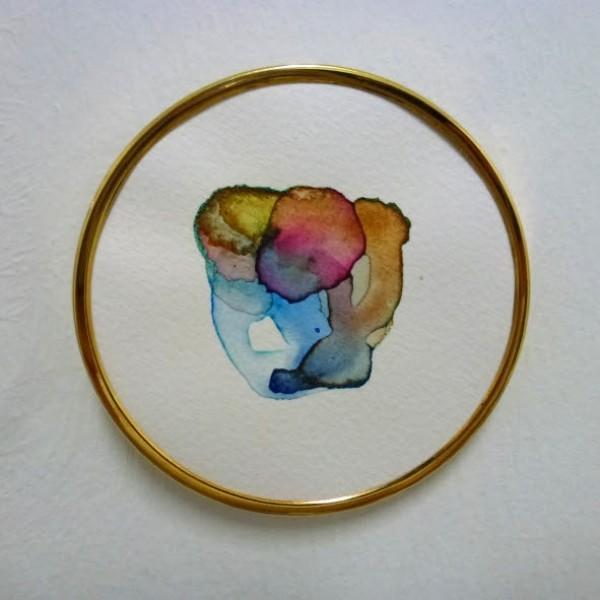 Regina Dejiménez. Placa, 2015. Acuarela sobre papel. 8 cm. diámetro