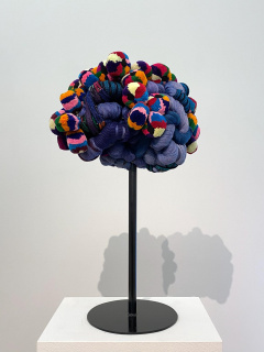 Sandra Monterroso, Vida Azul, from the series Wounds Can Also Be Dyed Blue, 2019. Sculpture, dyed yarn, Tocoyales, steel. 23 9/16 x 23 9/16 x 15 3/4 in. — Cortesía de Sicardi | Ayers | Bacino