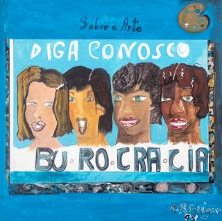 """Anna Bella Geiger, """"Burocracia"""", 1998. Acrílica sobre tela, 60x60 cm. — Cortesía de Danielian Galeria"""