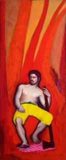 "Glauco Rodrigues, ""Árvores – D'aprés Almeida Jr."", 1991. Acrílica sobre tela, 97x39 cm.— Cortesía de Danielian Galeria"