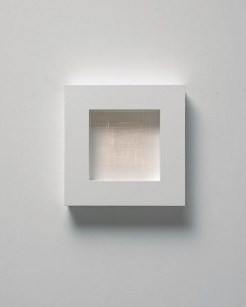 Pablos Armesto, Cuadrados en composición, MixtaMDF lacada, leds y fibra óptica, 58 x 58 x 12 cm. año 2016, pieza única