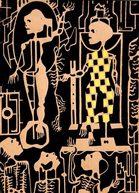 Juan Batlle Planas, Radiografía paranoica, 1936. Témpera sobre papel, 34 x 28 cm. Colección particular. Crédito fotográfico: © Juan Molina y Vedia — Cortesia del Museu Fundación Juan March