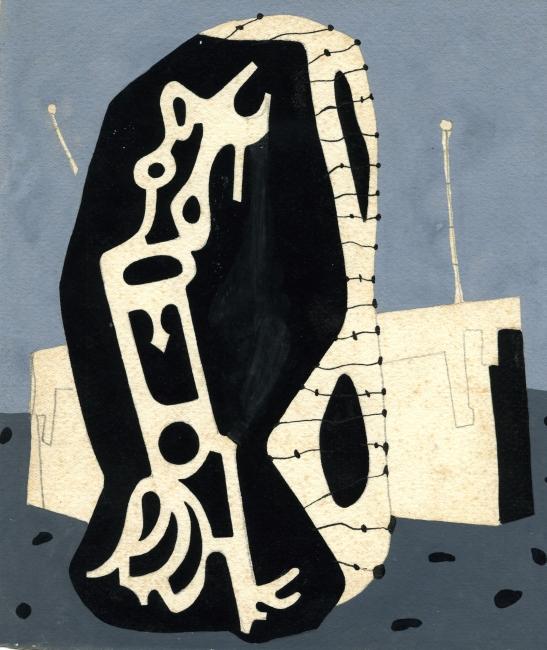 Juan Batlle Planas, Radiografía paranoica, 1936. Témpera y lápiz sobre papel, 19 x 16 cm. Colección Giselda Batlle. Crédito fotográfico: © Rolando Schere Arq. — Cortesia del Museu Fundación Juan March