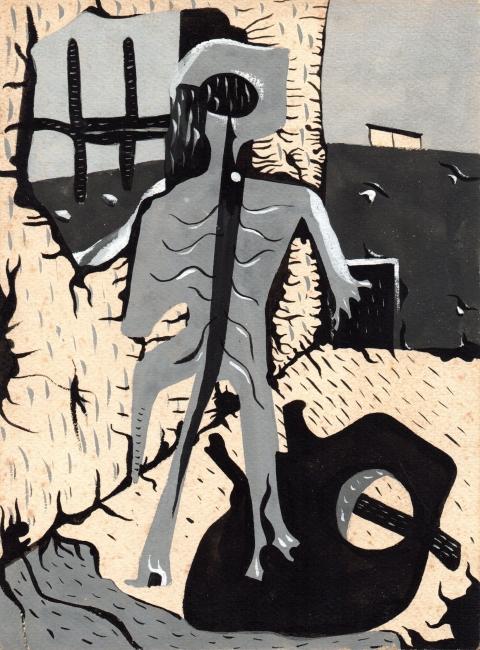 Juan Batlle Planas, Radiografía paranoica, 1939. Témpera sobre papel, 23 x 16 cm. Colección Silvia Batlle. Crédito fotográfico: © Juan Molina y Vedia — Cortesia del Museu Fundación Juan March