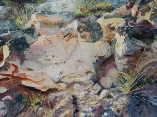 Martinho Costa, Rochas (Corbera d'Ebre), 2019, óleo sobre tela, 150 x 200 cm. — Cortesía de Galería Silvestre