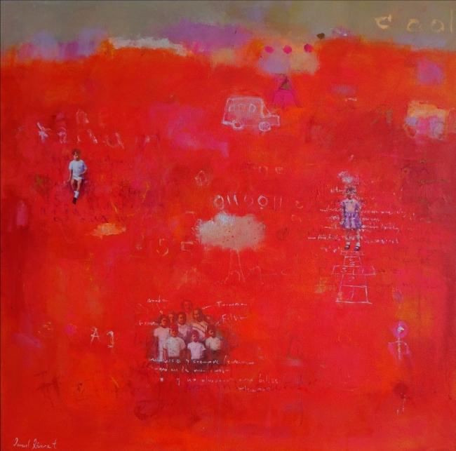 Ismael Rivera, Dulce rojo II, 2019, acrílico sobre lienzo, 78 x 78 cm. — Cortesía de Beatriz Esguerra Arte