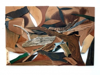 Miguel Ángel Tornero: S/T (Quemar ramón), 2020. Collage y cartones sobre bastidor de madera. 130x195x3 cm. — Cortesía de la Galería Juan Silió