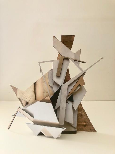 Andrea V Wright. Maquette for future sculpture 9. Digital print, Card. 26x35x9 cm. 2020  Cortesía de la galería Nordés