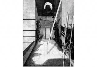 La entrada I. 200 x 150 cm. Técnica mixta sobre papel.