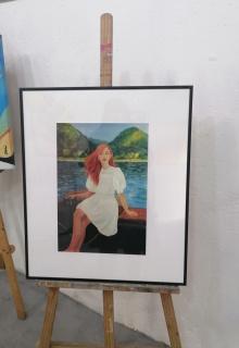 """Imagen de la obra expuesta en papel fotográfico,en referencia a su cuadro en óleo/Tela """"El Río """"obra de la pintora Silvia G.Armesto"""