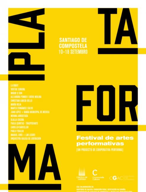Cartel de Plataforma | A vista de pájaro:MACBA, Performa, Tabakalera, Institut Ramon Llull, ArtsLibris y Baltic Triennial