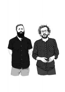 Juan Canela (izqda.) y Ángel Calvo Ulloa. Ilustración de Iñaki Landa. Cortesía de Consonni