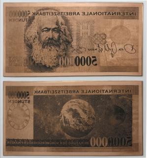 Banco internacional de tiempo laboral. Plancha cobre 5.000.000 horas - Obra de Juan Luis Moraza adquirida para la Colección de Oliva Arauna