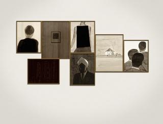 FMG0215 - Fernando Martín Godoy. Imágenes de Archivo. Tinta china sobre papel Montval. 76 x 181. 2013. Cortesía de Siboney.