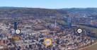 Vista de Basilea con la ubicación de tres ferias