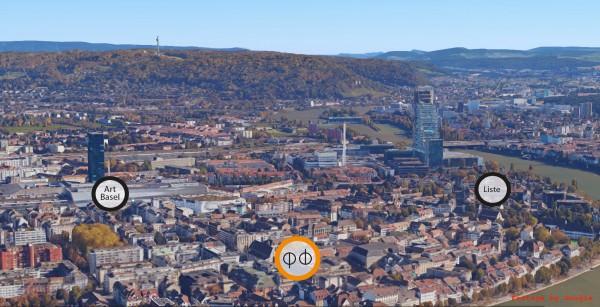 Vista de Basilea con la ubicación de tres ferias | Las 15 galerías españolas en 5 ferias satélites de Art Basel